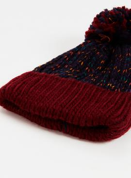 Navy & Burgundy Beanie Hat & Gloves Set