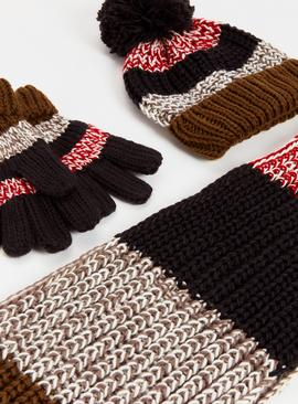 Knitted Colour Block Gloves, Scarf & Hat