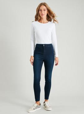 Dark Denim High Waist Skinny Jeans With Stretch