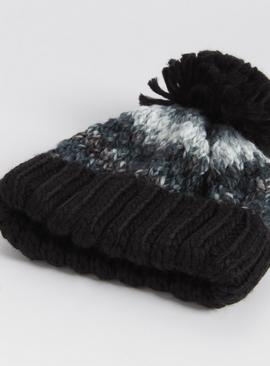 Knitted Pom Pom Hat & Gloves