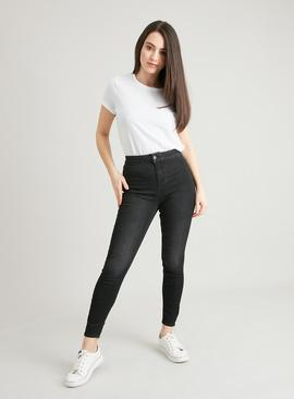 PETITE Washed Black Denim High Waist Skinny Jeans