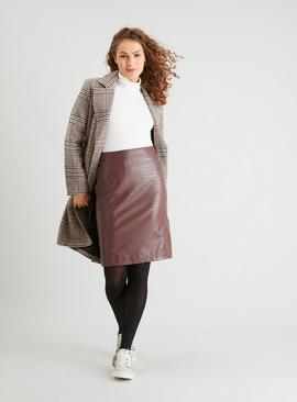 Brown Mock Croc Faux Leather Pencil Skirt
