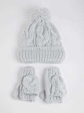 Grey & Silver Knitted Hat & Mittens Set
