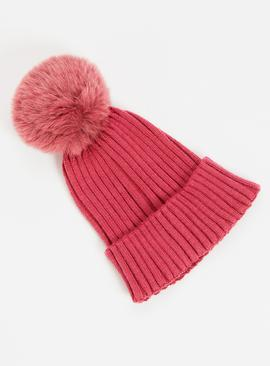 Mauve Soft Touch Ribbed Knit Beanie Hat