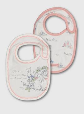 Peter Rabbit Pink Trim Bibs 2 Pack - One Size