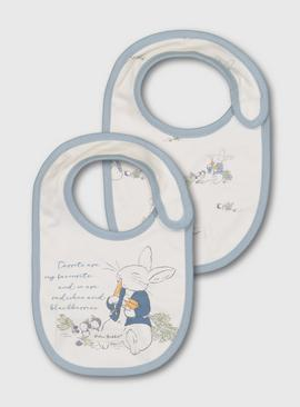 Peter Rabbit Blue Trim Bibs 2 Pack - One Size