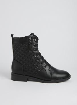Black Quilted Zip-Up Biker Boots