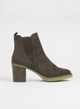 Sole Comfort Brown Heeled Chelsea Boots