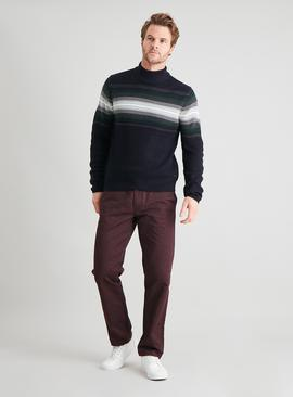 Navy Colour Block Roll Neck