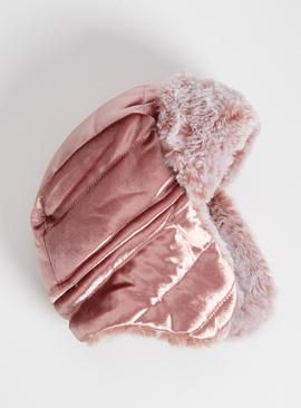 Pink Velvet & Faux Fur Trapper Hat