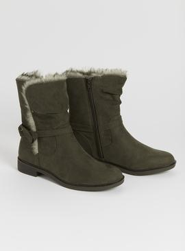 Sole Comfort Khaki Faux Fur Trim Boots
