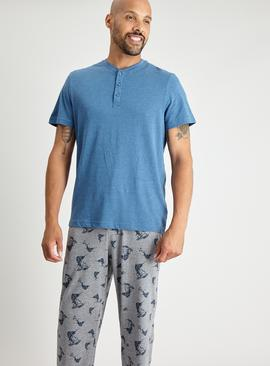 Blue & Grey Swordfish Print Pyjamas