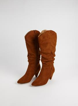 Sole Comfort Tan Faux Suede Knee High Boots