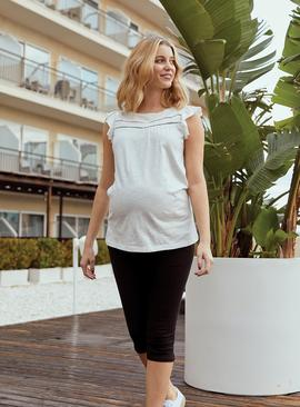 White Jersey Frill Cap Sleeve Maternity Top