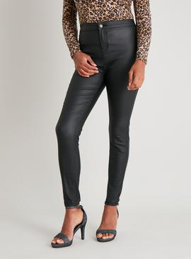 Black Coated High Waisted Skinny Jeans