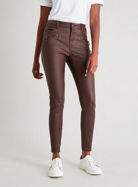 Brown Coated Zip Detail Skinny Jeans