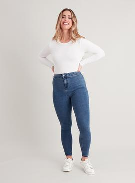 Midwash Denim High Waist Skinny Jeans With Stretch