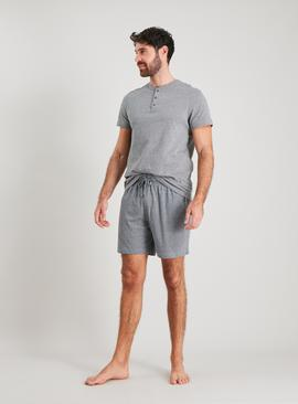 Grey Marl Grandad Shortie Pyjamas