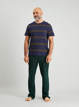 Ochre Stripe & Green Full Length Pyjamas