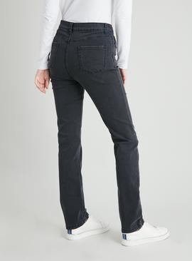 Black Washed Straight Leg Jeans