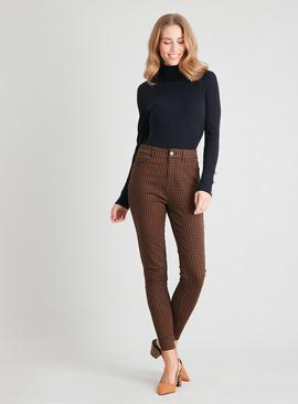 Tan Dogtooth Print Skinny Jeans