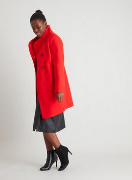 Red Asymmetrical Funnel Neck Coat