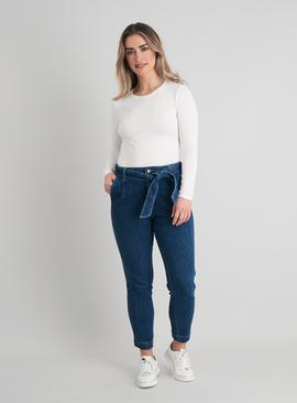 Mid Wash Denim Belted Mom Jeans