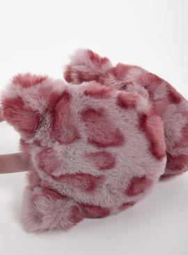 Pink Leopard Print Faux Fur Ear Muffs - One Size