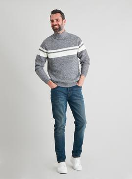Grey & White Chest Stripe Roll Neck Jumper