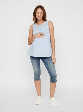 Blue Broderie Anglaise Maternity Top