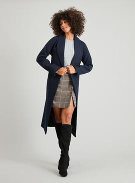 Navy Shawl Collar Wrap-Over Belted Coat