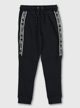 Black 'Be Awesome' Side Tape Joggers