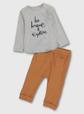 Grey Slogan Top & Ribbed Bottoms