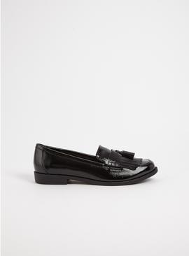 Black Faux Patent Tassel & Fringe Loafer