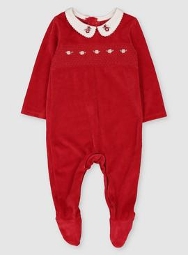 Red Velour Collared Sleepsuit