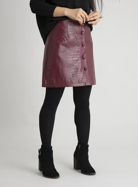 PETITE Red Mock Croc Faux Leather Skirt