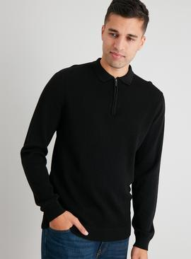 Black Textured Half Zip Jumper