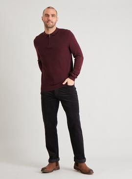 Dark Purple Half Zip Polo Jumper