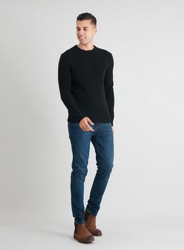 Black Crew Neck Lambswool Rich Jumper