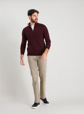 Oxblood Lambswool-Rich Half Zip Jumper