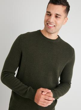 Khaki Crew Neck Lambswool Rich Jumper