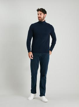 Navy Lambswool-Rich Roll Neck Jumper