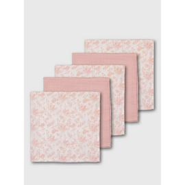 Pink Floral Muslin Squares 5 Pack - One Size