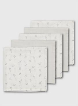 White Safari Animals Muslin Squares 5 Pack - One Size
