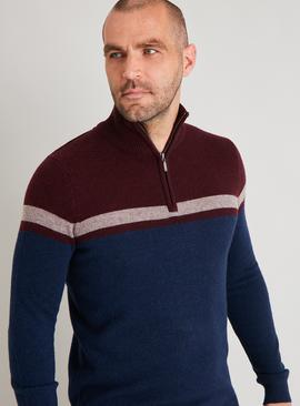 Navy Lambswool Rich Half Zip Jumper