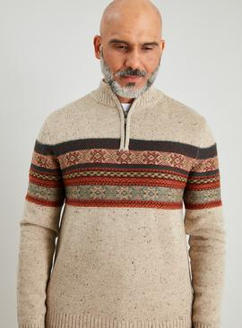 Beige Fair Isle Half Zip Jumper With Wool
