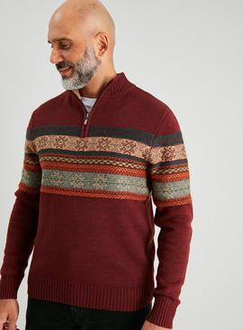 Oxblood Fair Isle Half Zip Jumper With Wool