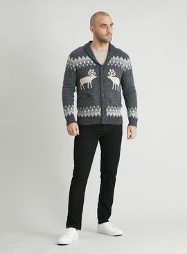 Christmas Grey Reindeer Shawl Collar Cardigan