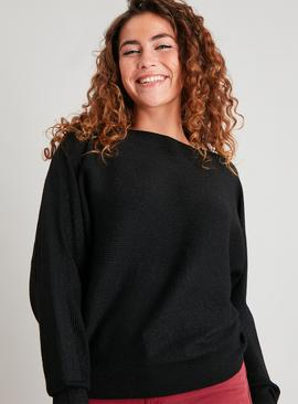 Black Glitter Ribbed Stripe Batwing Jumper