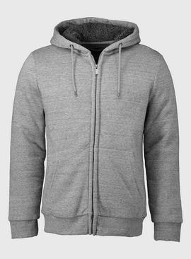 Grey Borg Fleece Lined Zip Through Hoodie